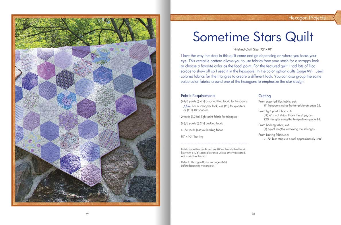 Hexagon happenings carolyn forster 39 s quilting on the go for Hexagon quilt template plastic